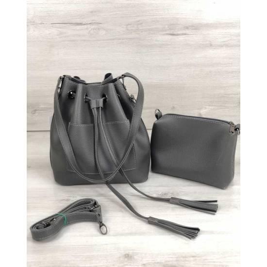 Стильная сумочка серого цвета из экокожи
