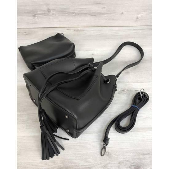 Стильная черная сумочка с клатчем