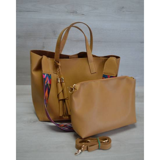 Стильная сумочка горчичного цвета с клатчем