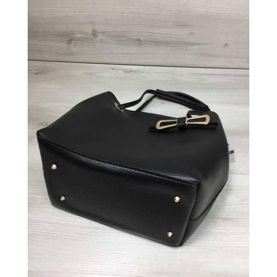 Молодежная женская сумка черного цвета с косметичкой