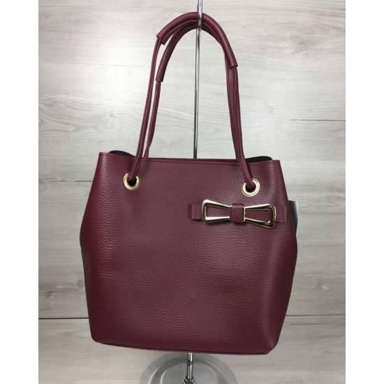 Бордовая стильная сумочка с косметичкой