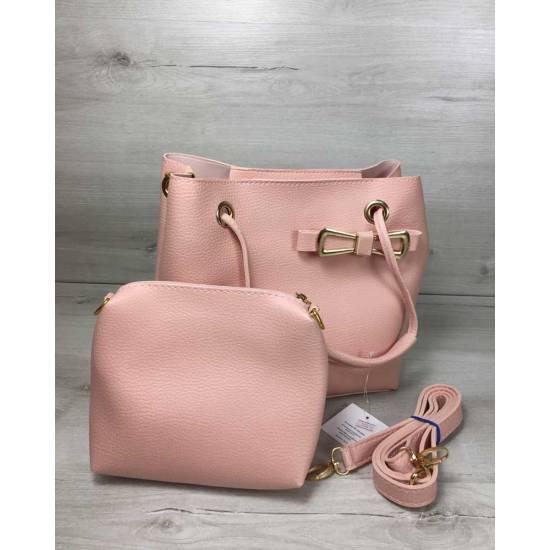 Стильная розовая сумочка с косметичкой