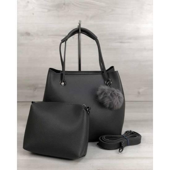 Стильная серая сумочка с косметичкой