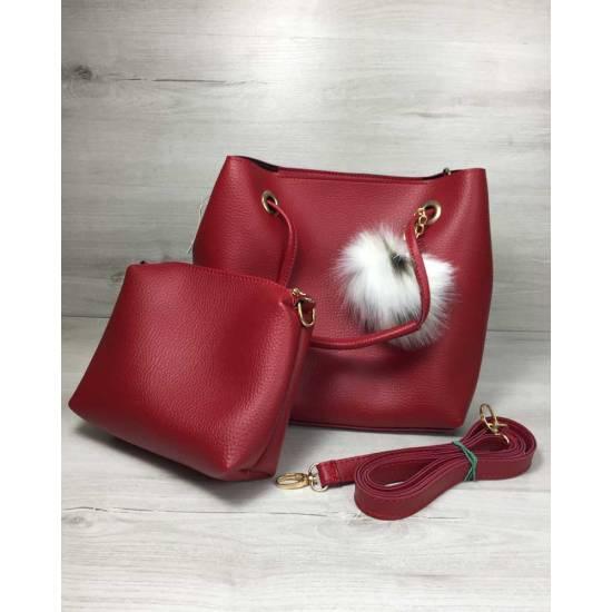 Модная красная сумочка с косметичкой