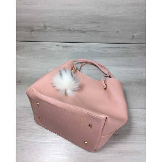 Розовая сумочка с косметичкой с пушком