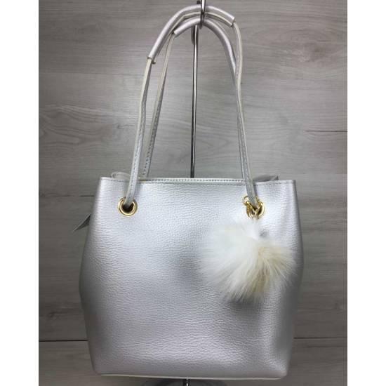Модная женская сумка серебряного цвета